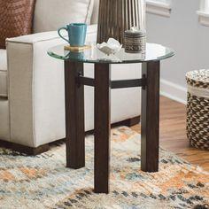 Belham Living Hanover Glass & Wood End Table - 150209C