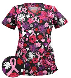 UA Painted Pink Ribbons Black Print Scrub Top Look great while supporting a great cause. Vet Scrubs, Medical Scrubs, Uniform Advantage, Scrub Tops, Shades Of Red, Black Print, Black Tops, Looks Great, Floral Tops