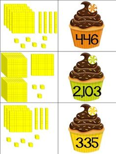 Here's a cupcake themed place value matching activity.