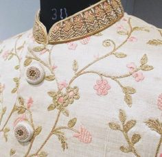 Jaal work sherwani with hints of light peach Sherwani For Men Wedding, Wedding Dresses Men Indian, Groom Wedding Dress, Mens Sherwani, Wedding Men, Wedding Suits, Trendy Wedding, Punjabi Wedding, Indian Weddings