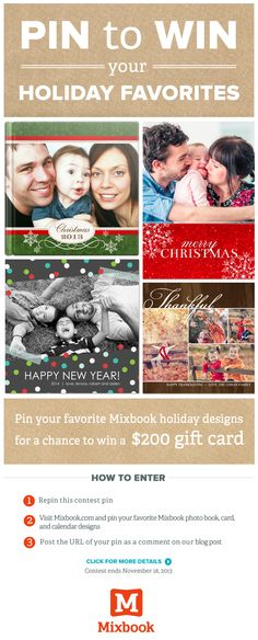 Pin your favorite Mixbook holiday photo book, card and calendar themes for the chance to win a $200 gift card! Click for details