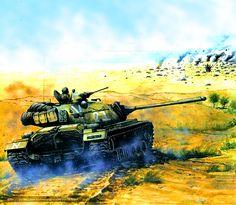 Egyptian tank in battle, Yom Kippur War