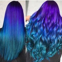 Straight or Curly? I say both ☠️ By Thanks for the tag! Bold Hair Color, Cute Hair Colors, Pretty Hair Color, Beautiful Hair Color, Hair Dye Colors, Bright Hair, Galaxy Hair Color, Blue Ombre Hair, Coloured Hair