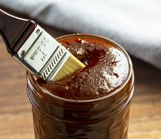 Dipping Brush into BBQ Sauce in a Jar Jalapeno Ranch Dressing, Homemade Ranch Dressing, Make Bbq Sauce, Barbecue Sauce, Sauce Recipes, Cooking Recipes, Smoker Recipes, Homemade Sauce, Dressings
