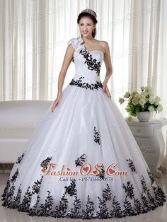 White Ball Gown One Shoulder Floor-length Taffeta and Organza Embroidery Quinceanera Dress  http://www.fashionos.com  quinceanera dress for 16 girl | quinceanera dress with strap | white and black quinceanera dress | quinceanera dress with black embroidery | quinceanera dress ruched bodice | quinceanera dress with hand made quinceanera dress |