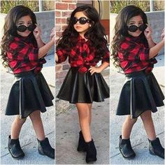 set girl on sale at reasonable prices, buy Spring 2016 Fashion Girls Kids Princess Plaid Tops Shirt +Leather Skirt Summer Outfits Clothes from mobile site on Aliexpress Now! Little Girl Outfits, Kids Outfits Girls, Little Girl Fashion, Kids Fashion, Girls Dresses, Spring Fashion, Fashion Clothes, Style Fashion, Plaid Fashion