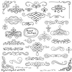 Vintage hand drawn swirls ornaments with corner vector 02 - # 03 Zeichnen + Malen - Ornamental Tattoo Painting, Sketch Note, Doodles, Frame Clipart, Vintage Typography, Typography Design, Calligraphy Letters, Bullet Journal Inspiration, Doodle Art