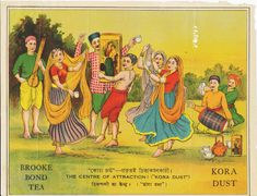 """Rural folk sing and dance in an advertisement for Brooke Bond """"Kora Dust,"""" circa 1920s-1930s."""