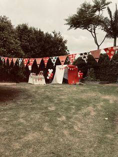 Converted old clothes line. Old Clothes, Clothes Line, Painted Bunting, Vintage Carnival, Diy Arts And Crafts, Craft Party, Handmade Art, Signage, Dolores Park