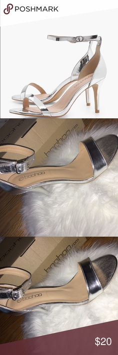 Silver Metallic Comfortable Heel These have never been worn, mostly for the fact that they came too late so I could no longer wear them for NYE, now they've been just sitting in my closet. They're very comfy, and not too high. Boohoo Shoes Heels