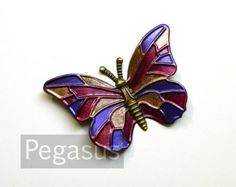 Magenta Purple Bronze Butterfly Stained glass color metal Stampings (1 Piece)(1.75 inches) Art Nouveau Style Jewelry Finding.Tiffany glass