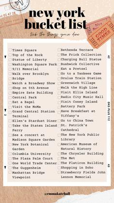 New York City Bucket List: The Ultimate Guide to New York A Usual Thinks New York City Vacation, New York City Travel, New York Life, Nyc Life, Travel Checklist, Travel List, Aloita Resort, Visiter San Francisco, New York Bucket List