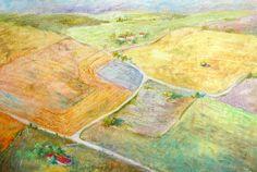 NAVARRA LANDSCAPE by Susana Correa Llobet. 30x40 cms Oil pastel on paper