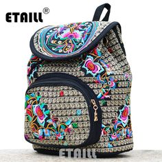 National Trend Ethnic Canvas Embroidery Backpack Women Handmade Boho Thailand Embroidered Bag Schoolbag Rucksack Sac A