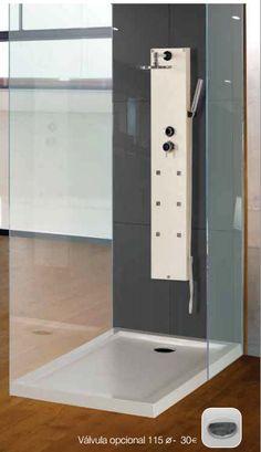 plato de ducha acrílico modelo Contact de Loga, 100x70 cm, antideslizante, color blanco