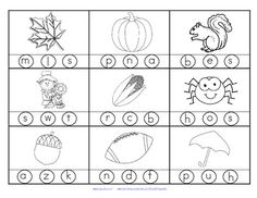 FREE 2 printables with 18 pictures in b/w for young learners with a Fall theme. Stamp or color the correct beginning or initial sound.