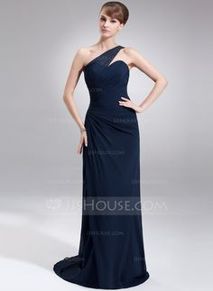[€ 137.93] Sheath/Column One-Shoulder Sweep Train Chiffon Mother of the Bride Dress With Ruffle (008006499)