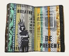 Mixed Media Art Journal page by Marjie Kemper using a StencilGirl stencil. See the stencil here: http://www.stencilgirlproducts.com/uplifting-words-stencil-carolyn-dube-p/l258.htm