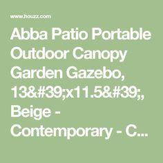 Abba Patio Portable Outdoor Canopy Garden Gazebo, 13'x11.5', Beige - Contemporary - Canopies Tents And Awnings - Other - by APPEARANCES INTERNATIONAL