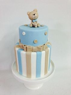 Baby Birthday Cakes, Bear Birthday, Formation Patisserie, Types Of Cakes, Baby Shower Gender Reveal, Cute Cakes, Cute Food, Baby Shower Cakes, Party Planning