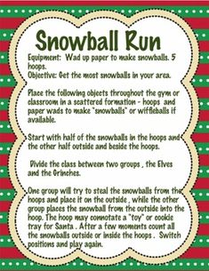 Christmas PE and Classroom Party Games - - christmas games Christmas PE and Classroom Party Games Gym Games For Kids, Outdoor Games For Kids, Pe Activities, Movement Activities, Physical Activities, Holiday Games, Christmas Party Games, Christmas Deco, Diy Party Crafts