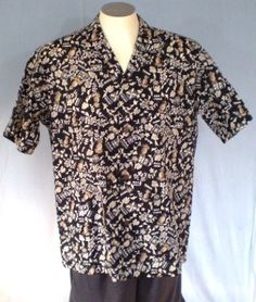 Royal Creations Black Large Hawaiian Shirt Floral Geometric Cotton Blend #RoyalCreations #Hawaiian
