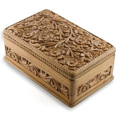 Carved Wooden Jewelry Box | Wooden Jewelry Chest Hand Carved Walnut Wood Jewelry Box India Kashmir