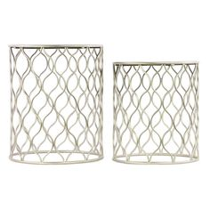 Urban Trends Mirror Top Nesting Tables with Intersecting Waves Base - Set of 2 - 12355