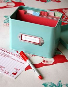 Recipe Box. A must have. I actually made my sister-in-law a recipe box for a wedding gift. I included family recipes from her future husband and her family's recipes. I think this is a great gift and a must have for yourself. I'm currently making one for myself.