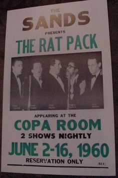 THE RAT PACK 1960 FRANK SINATRA CONCERT POSTER 60S art Sands Las Vegas Copa Room | eBay