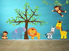 Wall Decal - Jungle Decal - Jungle Wall Decal - Kids Wall Decals SET - Giraffe, Elephant, Monkey, Zebra - Baby Boys Girls Bedroom Room on Etsy, $55.00