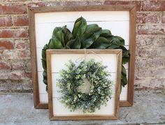 Shiplap Art & Mini Eucalyptus OR Magnolia Wreath Reclaimed Handmade Home Decor, Vintage Home Decor, Rustic Decor, Farmhouse Decor, Diy Home Decor, Farmhouse Style, Magnolia Wreath, Home Projects, Sweet Home