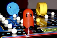"Pac-Man Board Game- totally had this! White glass marbles were ""eaten"" through a hole in the hollow plastic PAC man. Not sure we ever figured out the game play rules, we just messed around with the pieces."