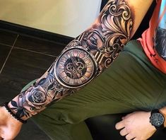 Awesome Sleeve Tattoos For Guys - Best Sleeve Tattoos For Men: Cool Sleeve Tatto. - Awesome Sleeve Tattoos For Guys – Best Sleeve Tattoos For Men: Cool Sleeve Tattoo Designs and Ide - Forearm Sleeve Tattoos, Best Sleeve Tattoos, Tattoo Sleeve Designs, Tattoo Designs Men, Body Art Tattoos, Hand Tattoos, Clock Tattoo Sleeve, Half Sleeve Tattoos For Men, Mens Full Sleeve Tattoo