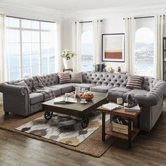 SIGNAL HILLS Knightsbridge Tufted Scroll Arm Chesterfield 10-Seat U-Shaped Sectional - 18412553 - Overstock.com Shopping - Big Discounts on Signal Hills Sectional Sofas