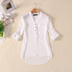 Novo 2013 mulheres primavera verão chiffon com decote em V elegante todos  match botton sólida espirais casuais camisa blusa XFS3106 frete grátis em Blusas - Feminino de Roupas & acessórios no AliExpress.com   Alibaba Group