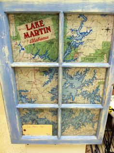 I love this lake map behind the painted old window