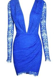 GALHAM - Sexy Deep V Neck Open Blue Long Sleeve Lace Dress  <3 <3 <3 @mutefashion