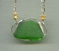 Sea Glass for summer...with citron and gold accents