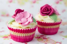 Pretty Pink Flower Cupcakes