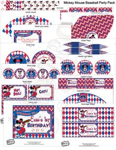 Mickey Mouse Baseball Birthday Custom Party Decorations   Invitations   Banner   Labels   Wrappers   Stickers by MetroEvents on Etsy https://www.etsy.com/listing/105139786/mickey-mouse-baseball-birthday-custom