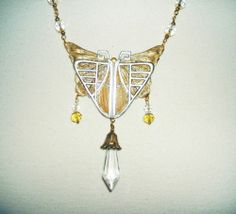Art Deco Moth Necklace Nouveau Statement Jewelry w Glass Crystal Gold Plated | eBay