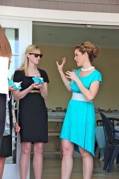 Breakfast at Tiffany's everyone wears a LBD except bride who wears Tiffany blue!!!!!