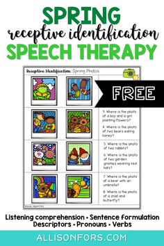 Free Spring Speech Therapy Free Spring Speech Therapy Amy amyrhaas SLP Ideas FREE spring speech therapy activity Work on receptively identifying a picture when nbsp hellip Speech Therapy Activities, Language Activities, Articulation Activities, Speech Language Pathology, Speech And Language, Kindergarten Journals, Kindergarten Reading, Play Therapy Techniques, Receptive Language