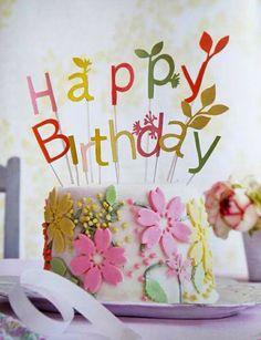 Birthday Birthday Cake With Flowers, Happy Birthday Flower, Happy Birthday Images, Happy Birthday Greetings, Celebration Cakes, Birthday Celebration, 23rd Birthday, Cake Birthday, Birthday Quotes