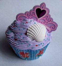 Little Mermaid Ariel Faux Cupcake Decoration by teensyturtle, $10.00
