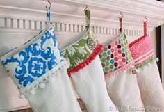 DIY Christmas Stockings • A round-up of amazing Christmas stocking Tutorials and Projects! Including, from 'in my own style', these merry and bright Christmas stockings.