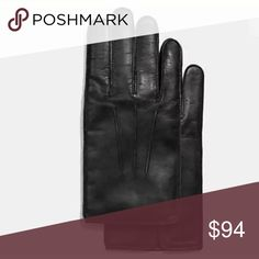 COACH Men's Black Leather Cashmere Lined Gloves M Brand new. 100% authentic Smoke free environment Wool and cashmere lined Comes with gift receipt and gift box We have a clean and smoke free home Coach Accessories Gloves