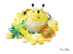 Crochet Pincushion Shades of Yellow Pincushion by CreArtebyPatty