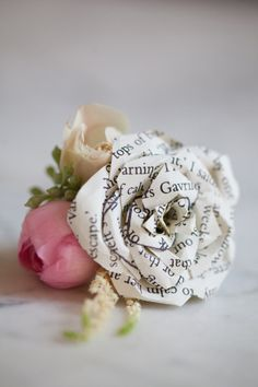 Book page rose boutonniere - Annapolis Vow Renewal from Liz and Ryan + Allison Barnhill Designs